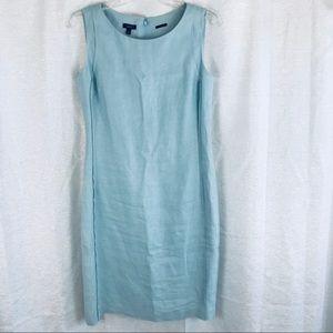 TALBOTS Irish Linen Light Blue Sheath Dress 10